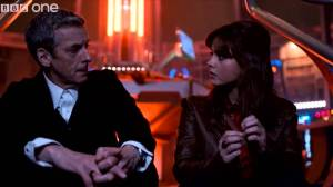 "The Doctor asks Clara, ""Am I a good man?"" - Doctor Who Season 8 Photo courtesy BBC One"